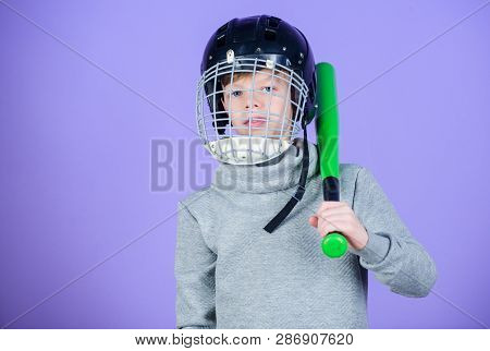 Healthy Childhood. Baseball Training Concept. Boy In Helmet Hold Baseball Bat. Sport And Hobby. Care