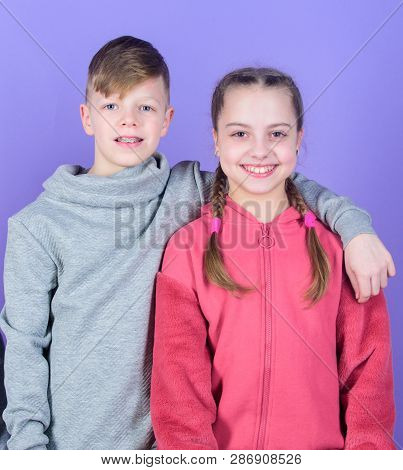 Teens Friends. Girl And Boy True Friendship. Children Smiling Faces On Violet Background. Friends Hu
