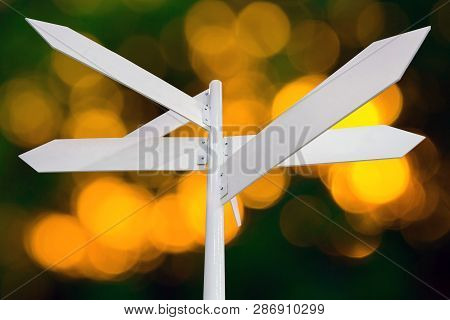 Blank Metal White Signage, Empty Guidepost, Sign Isolated On Neutral Background, Multi-direction Gui