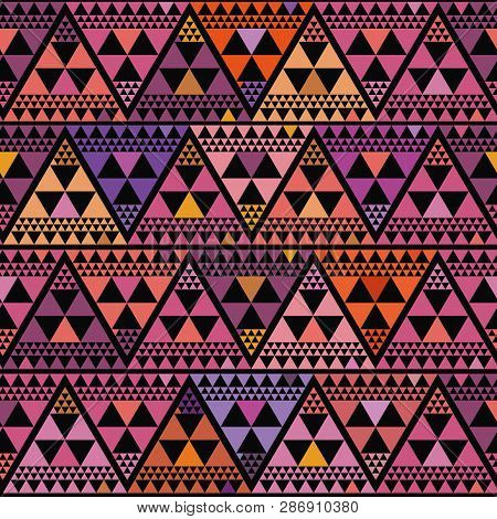 Vibrant Boho Style Triangle Repeat Pattern Vector Design On Black Background. Great For Luxury, Well