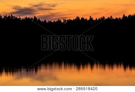 Reflection Of Forrest In The Water, Sunset Silhouette, Golden Hour, Landscape Photography, Landscape