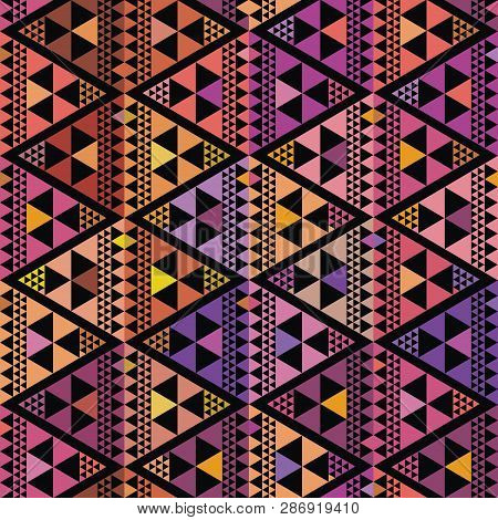 Purple, Pink And Orange Triangle Geometric Design. Repeat Vector Pattern On Black Background With Bo