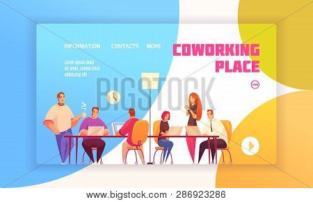 Coworking Place Landing Page Concept For Website With Coworkers In Shared Working Environment And Co
