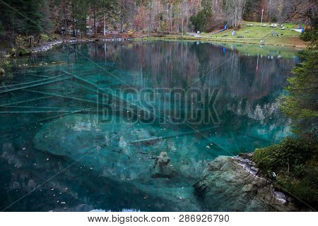 Blausee (blue Lake) Near The Hiking Paradise Of Berner Oberland, Switzerland