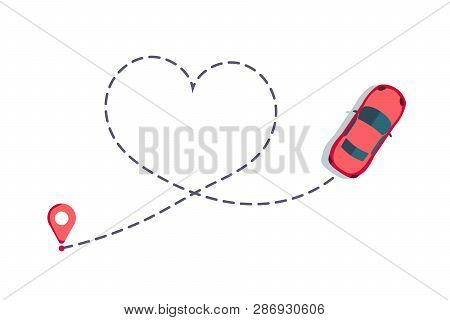 Love Car Route. Romantic Travel, Heart Dashed Line Trace And Routes. Hearted Vehicle Path, Dotted Lo