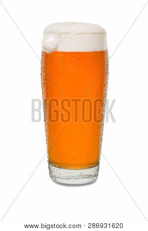 Craft Pub Beer Glass With Dollop Of Foam On Side Of Glass #1.