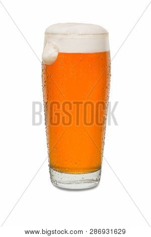 Craft Pub Beer Glass With Dollop Of Foam On Side Of Glass #2.