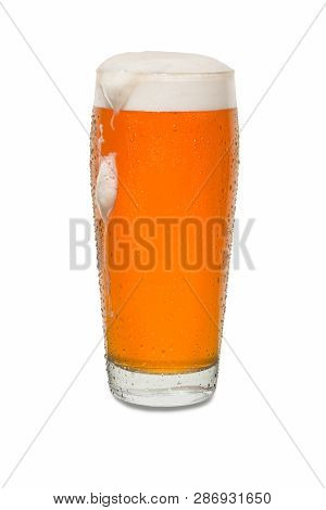 Craft Pub Beer Glass With Dollop Of Foam And Dip Running Down Side Of Glass #1.