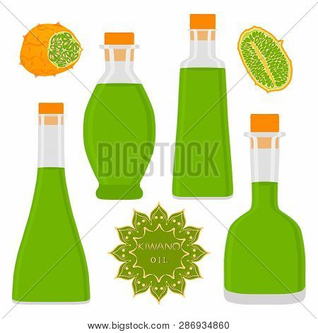 Illustration On Theme Big Set Different Types Kiwano Oil, Bottles Various Size. Kiwano Pattern Consi
