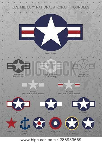 U.s. Military National Aircraft Star Roundels, Insignias From 1916 To Present, On Distressed Metal B