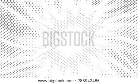 Halftone Gradient Explosion Pattern. Abstract Halftone Vector Dots Background. Fireworks Gray Dots P
