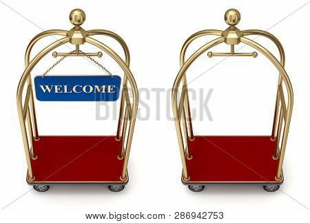Vintage Hotel Cart With Welcome Board - 3d Illustration