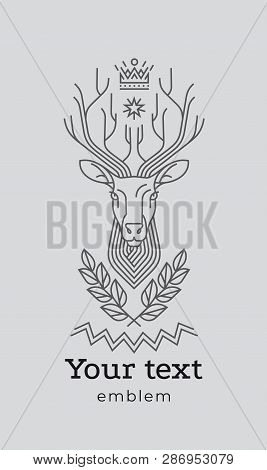 Emblem, Badge With A Deer Head. Ribbon, Motto, Laurel Wreath, Bow, Arrows, Sword Style Engraving Lin