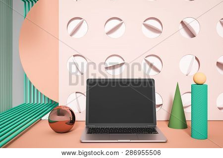 Laptop Over Abstract Background With Cone