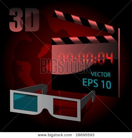 Video 3D goggles and clapperboard