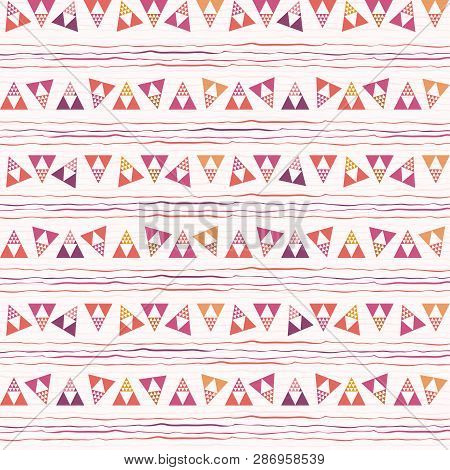 Funky Pink, Purple And Orange Triangle And Doodle Geometric Design. Repeat Vector Pattern On White D