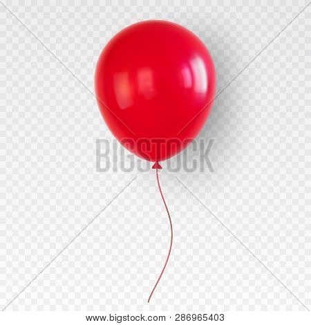 Red Helium Balloon. Birthday Baloon Flying For Party.