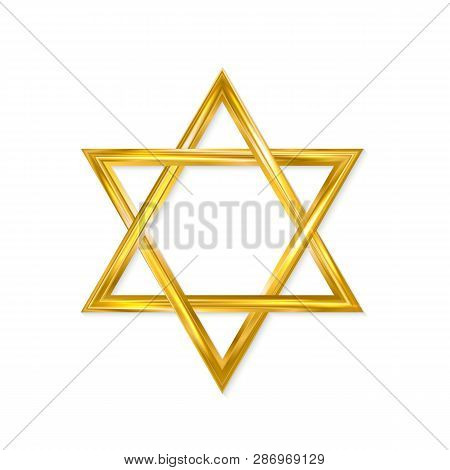 Jewish Star Of David. Golden Six-pointed Star Isolated On White Background. 3d Realistic Hexagonal F
