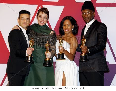 Rami Malek, Olivia Colman, Regina King and Mahershala Ali at the 91st Annual Academy Awards - Press Room held at the Loews Hotel in Hollywood, USA on February 24, 2019.
