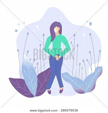 Female Urinary Incontinence, Cystitis, Involuntary Urination, Menopause Concept Illustration. Vector