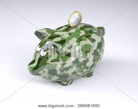 Military Camouflage Painted Piggy Bank With Euro Coin Isolated On Gray Background , 3d Illustration