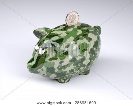 Military Camouflage Painted Piggy Bank With Rublee Coin Isolated On Gray Background , 3d Illustratio