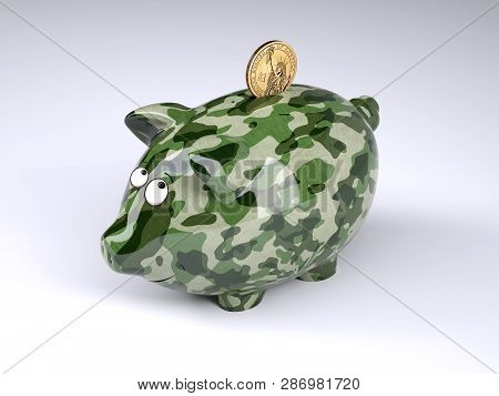 Military Camouflage Painted Piggy Bank With Dollar Coin Isolated On Gray Background , 3d Illustratio