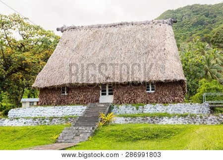 Traditional Authentic Fijian Bure, Wood-and-straw Thatched Walls And Roof Hut. Levuka Town, Ovalau I
