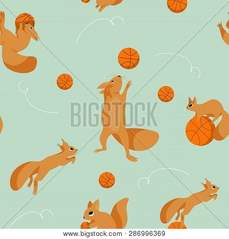Cartoon Set, Seamless Pattern With Playful Squirrels Plaing In Basketball Vector