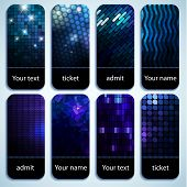 Set of shiny mosaic tickets with space for Your text poster