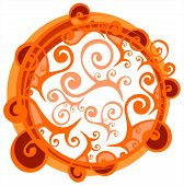 Light floral frame with orange ornate curls isolated on a white background. poster