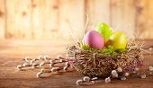 Easter composition with colorful Easter eggs in nest and branches of pussy willows on wooden background. Easter card with copy space. poster