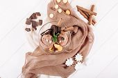 Chocolate Ice Cream Cookie Dessert Top Flat Lay. Cold Delicious Brown Icecream Ball and Mint Biscuit on Textile Background. Cocoa Flavor Gelato Serving Closeup Horizontal Copy Space Banner poster