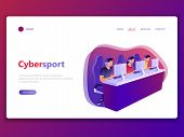 Landing web page template of Cybersport. E-sport, competitive, computer gaming, gamers. Men and woman playing game, looking at screen and sitting in chairs. Flat concept vector illustration. poster
