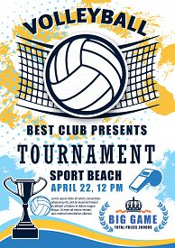 Volleyball Sport Match Tournament Poster. Vector Volleyball Championship Or Sport League Cup Competi