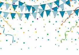 Blue Party Flags With Colorful Confetti And Streamer On White Background. Birthday And Festive Event