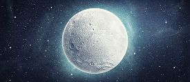 Full Moon In Space Over Stars Background. Elements Of This Image Furnished By Nasa