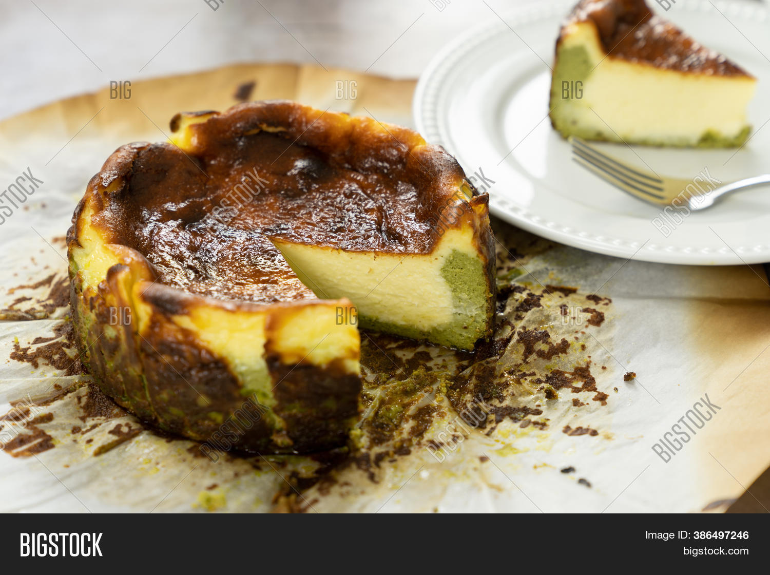 Basque Matcha Burnt Image Photo Free Trial Bigstock