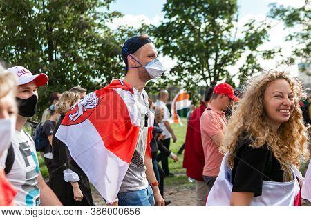 Minsk/ Belarus, September 16, 2020: Protest Against Lukashenko Winning On President Elections. Crowd