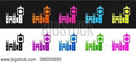 Set Big Ben Tower Icon Isolated On Black And White Background. Symbol Of London And United Kingdom.