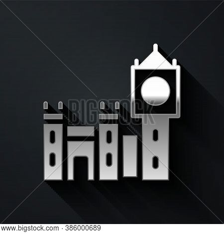 Silver Big Ben Tower Icon Isolated On Black Background. Symbol Of London And United Kingdom. Long Sh