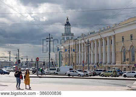 Saint-petersburg, Russia - July 10, 2020: People On The Vasilyevsky Island Next To The Zoological Mu