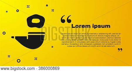 Black Smoking Pipe With Smoke Icon Isolated On Yellow Background. Tobacco Pipe. Vector