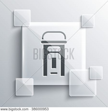 Grey London Phone Booth Icon Isolated On Grey Background. Classic English Booth Phone In London. Eng