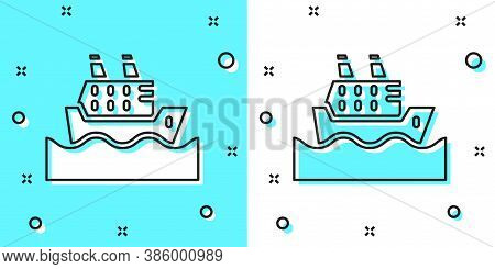 Black Line Cruise Ship In Ocean Icon Isolated On Green And White Background. Cruising The World. Ran