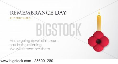 Vector Banner For Remembrance Day With Poppy Flower And Candle. Vector Background, November 11th.