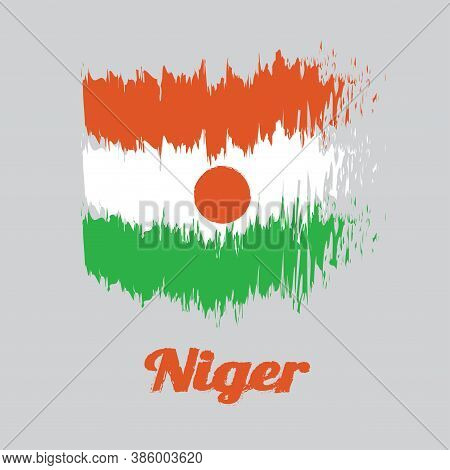 Brush Style Color Flag Of Niger, Orange White And Green; Charged With An Orange Circle In The Centre