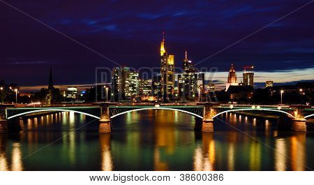 Night View of Frankfurt. Frankfurt Skyline at Night with Reflection in the Water