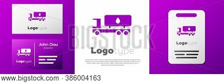 Logotype Tanker Truck Icon Isolated On White Background. Petroleum Tanker, Petrol Truck, Cistern, Oi
