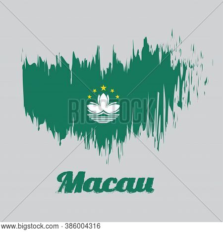 Brush Style Color Flag Of Macau, Green With A Lotus And Stylised Governor Nobre De Carvalho Bridge A
